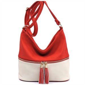 Red & Ivory Zip Colorblock Crossbody Bucket Bag
